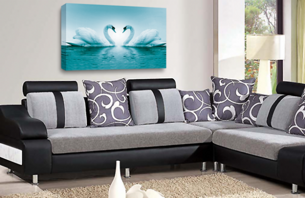 Love Heart Wall Art Picture Kissing Swans Teal White Grey Print